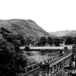 inverlochy castle, ben nevis range and the railway